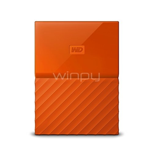 Disco duro portátil Western Digital My Passport de 2TB (USB 3,0, Naranja)