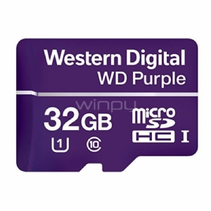 Tarjeta de memoria flash Western Digital Purple de 32GB (MicroSDHC, Clase 10, 80 MB/s)