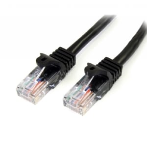 Cable de Red de 0,5m Negro Cat5e Ethernet RJ45 sin Enganches - StarTech