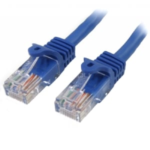 Cable de Red de 0,5m Azul Cat5e Ethernet RJ45 sin Enganches - StarTech