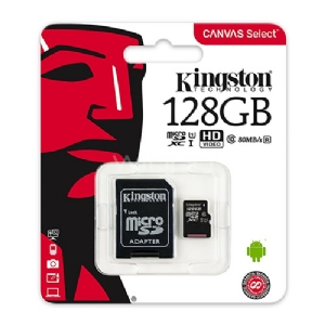 Tarjeta microSD Kingston Canvas Select de 128GB (Clase 10, UHS-I, U1, con adaptador SD)
