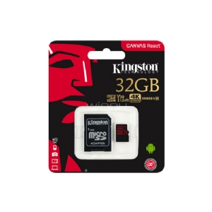Tarjeta microSD Kingston Canvas React 10 de 32GB para vídeos 4K (SDHC/SDXC, UHS-I, adaptador SD)