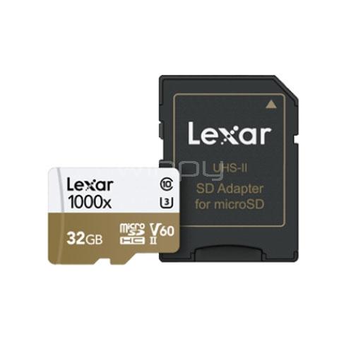 U3 con tarjeta Tarjeta Clase 10 Lexar 1000x 32GB Profesional microSDHC UHS-II